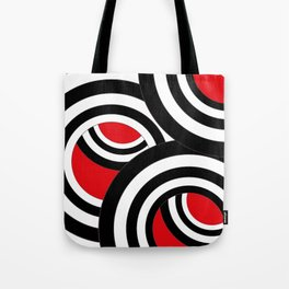 Black, white and red spirals Tote Bag