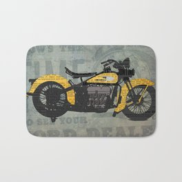 Classic motorcycle yellow and black, newspaper abstract art collage, valentine gift Bath Mat