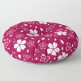 Japanese Red Sakura Pattern Floor Pillow