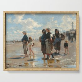 Setting Out to Fish Oil Painting by John Singer Sargent Serving Tray