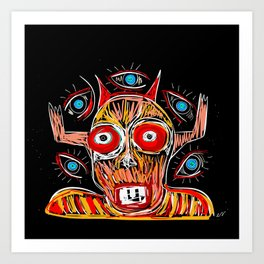 African Mystic Spirit with Eyes Graffiti Art by Emmanuel Signorino Art Print