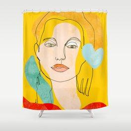 woman face line art minimal illustration Shower Curtain