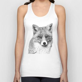 Black and White Fox Unisex Tank Top