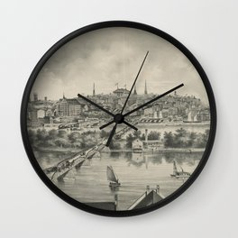 Vintage Pictorial Map of Richmond VA (1876) Wall Clock