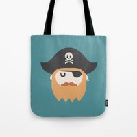 pirate Tote Bags featuring Pirate by Beardy Graphics