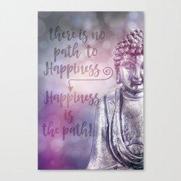 Buddha Path to Happiness Inspirational Typography Canvas Print