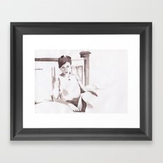 Figure and Bed Framed Art Print