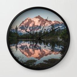 Cascade Sunset - Mt. Shuksan - Nature Photography Wall Clock