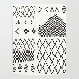 Moroccan Patchwork in Cream and Black Poster