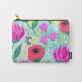 Pink and Coral Flowers, Floral Painting Pattern, Girl's Room Decor, Interior Design Carry-All Pouch