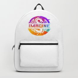IMAGINE Colorful Watercolour Graphic Dragon Backpack