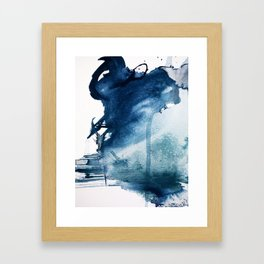 Pacific Grove: a pretty minimal abstract piece in blue by Alyssa Hamilton Art Framed Art Print