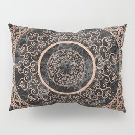 Mandala - rose gold and black marble Pillow Sham