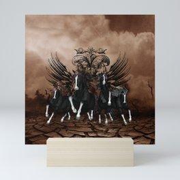 Awesome wild horses Mini Art Print