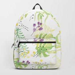 Handpainted Florals - Light green & Purple Backpack