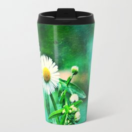 Asters on Green Velvet Travel Mug