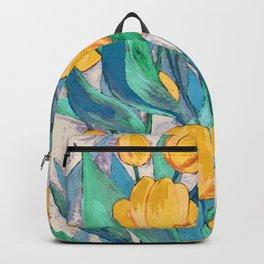 Blooming Golden Tulips in Gouache Backpack