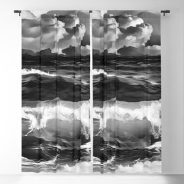 stormy sea waves reacbw Blackout Curtain
