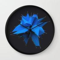 polygon Wall Clocks featuring Blue Polygon by error23