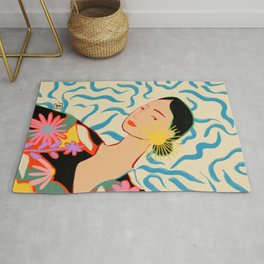 SMILING WOMAN AND SUNSHINE Rug