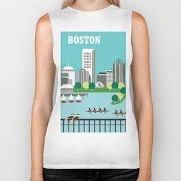 Boston, Massachusetts - Skyline Illustration by Loose Petals Biker Tank