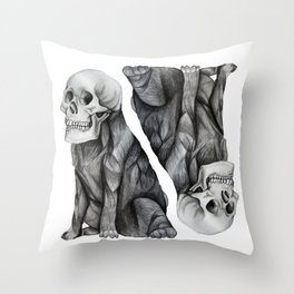skullpug // A brutal pug wearing a human skull made in pencil Throw Pillow