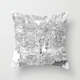 Las Vegas White Map Throw Pillow