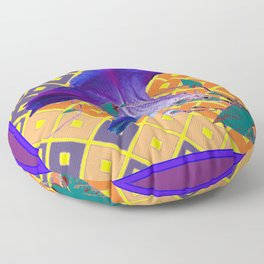 Gold & Purple Garden Floral Art Floor Pillow
