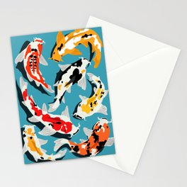Colorful Koi Carps Swimming Around Stationery Cards