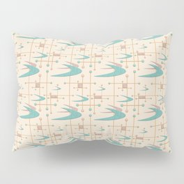 Mid Century Boomerangs in textured Blush Pink and Blue Pillow Sham