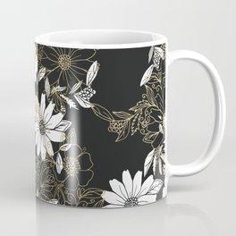 Modern black white faux gold elegant floral Coffee Mug