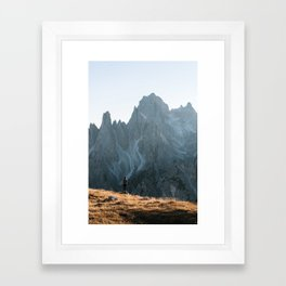 Dolomites mountain range in italy with hiker sunset - Landscape Photography Framed Art Print