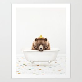 Big Brown Bear with Rubber Ducky in Vintage Bathtub Art Print