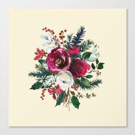 Christmas Winter Floral Bouquet No Text Canvas Print
