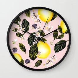 Citrus paradise. Tropical pattern with lemons Wall Clock