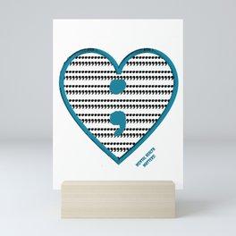 Semicolon heart petrol Mini Art Print
