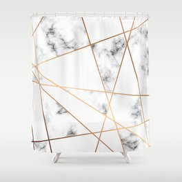 White, Gray, Gold Marble Geometric Pattern Shower Curtain