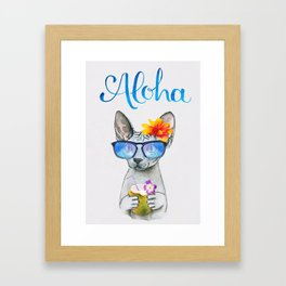 Aloha Cat // watercolor sphyx cat on holiday Framed Art Print