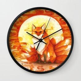 Sun kitsune - watercolor painting Wall Clock