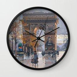 Arc de Triomphe, Paris, France by Eugene Galien Laloue Wall Clock