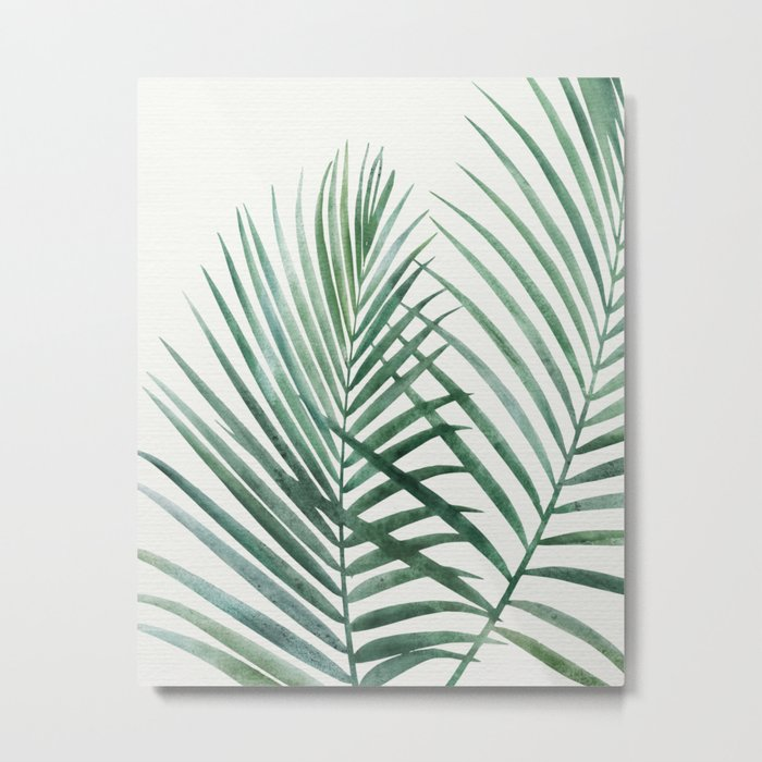 Emerald Palm Fronds Watercolor Metal Print