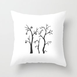 Silhouette of a rowan tree with berries Throw Pillow