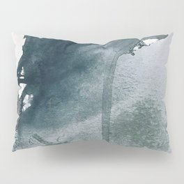 Lakeside: a minimal, abstract, watercolor and ink piece in shades of blue and green Pillow Sham