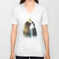 queen V-neck T-shirts featuring queen by tatiana-teni