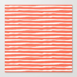 Thin Stripes White on Deep Coral Canvas Print