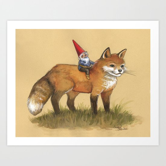 Gnome and Fox Art Print
