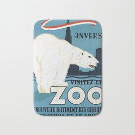 Vintage Belgium Travel Poster - Polar Bear Bath Mat