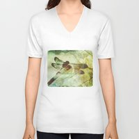 dragonfly V-neck T-shirts featuring Dragonfly by SpaceFrogDesigns