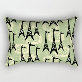 Mid Century Modern Giraffe Pattern Black and Sage Rectangular Pillow