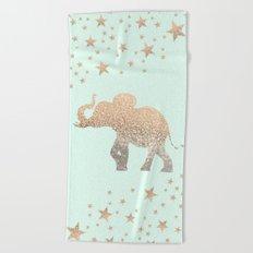 ELEPHANT - GOLD MINT Beach Towel